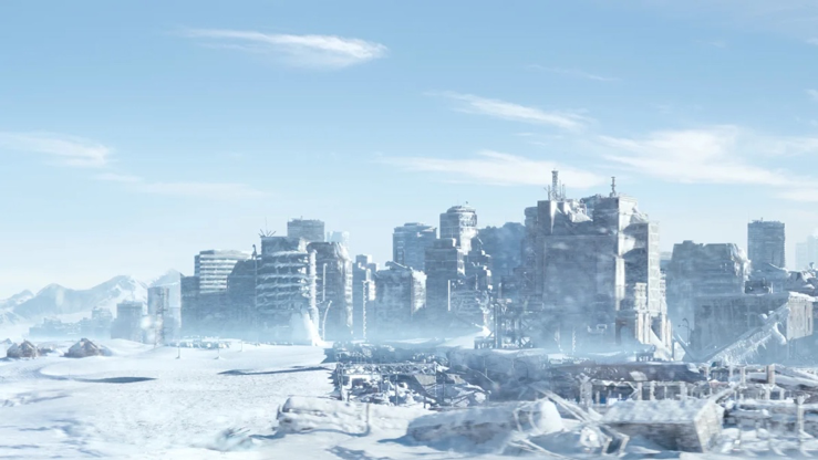 A photograph of a ruined city in an ice age